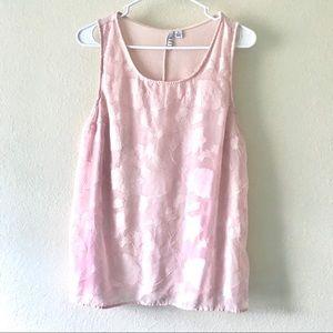 ELLE Blush Pink Floral Chiffon Tank Top M